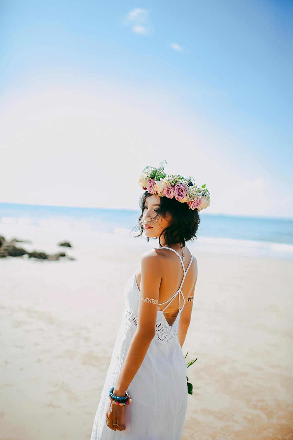 Bride on a Tuscan beach